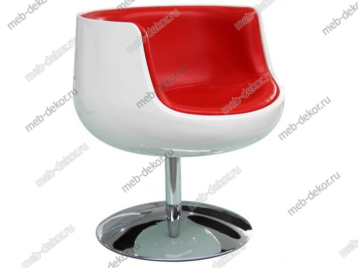 Барное кресло A340-1 (white shell/red seat PU) Cognaс chair