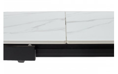 Стол CORNER 120 SINTERED STONE WHITE MARBLE/ BLACK